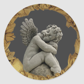 Sleeping Cherub Angel Sculpture Round Sticker. Classic Round Sticker
