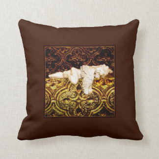 Sleeping cherub in dark golden colors throw pillow