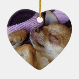 Sleeping Chihuahua Ceramic Ornament