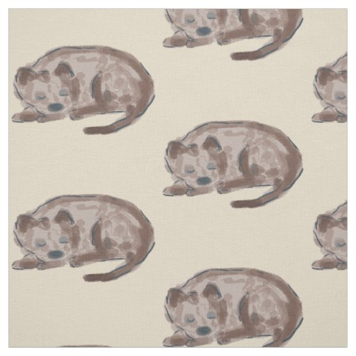 Sleeping Dog Illustration Fabric
