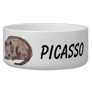Sleeping Dog with Name Personalized Dog Food Bowl
