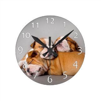 Sleeping English bulldog Round Clock