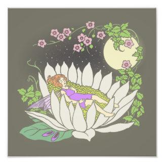 Sleeping Flower Fairy Moonlight Stars Photo Art