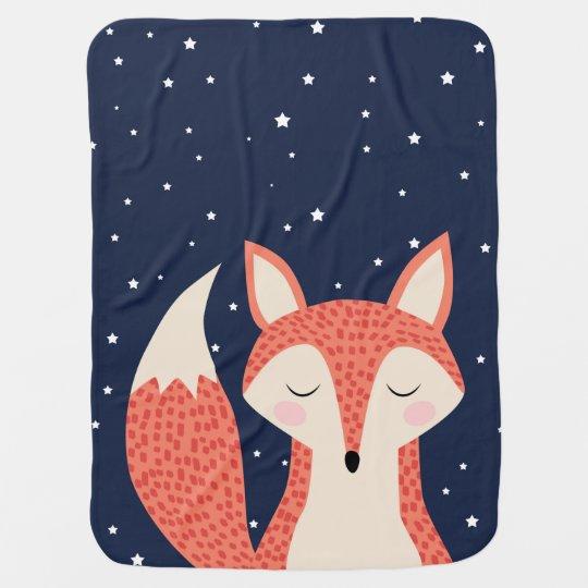 Sleeping fox night stars baby blankets