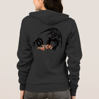 Sleeping Girl with Dragon Cartoon Drawing Hoodie