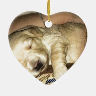 Sleeping GoldenDoodle Puppy Ceramic Ornament