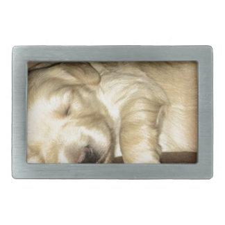 Sleeping GoldenDoodle Puppy Rectangular Belt Buckles