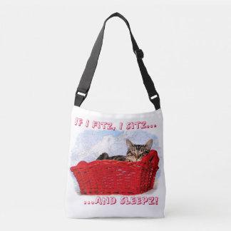 Sleeping Gray Tabby Kitten In Bright Red Basket Crossbody Bag