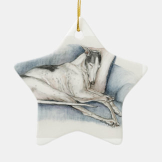 Sleeping Greyhound Dog Art Ornament