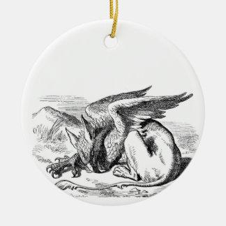 Sleeping Griffin Round Ceramic Ornament