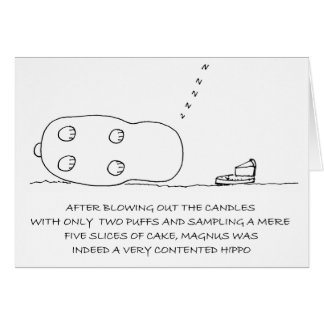 Sleeping Happy Hippo Cute Birthday Card
