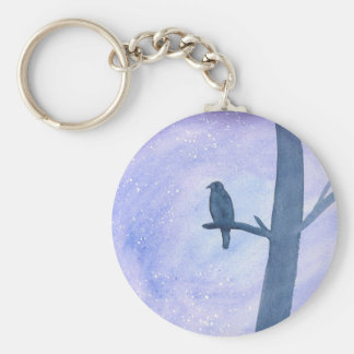 Sleeping Hawk Basic Round Button Keychain