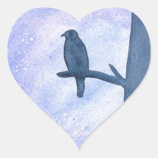 Sleeping Hawk Heart Sticker