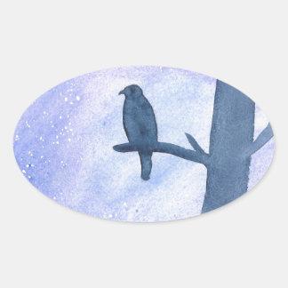 Sleeping Hawk Oval Sticker