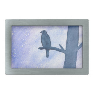 Sleeping Hawk Rectangular Belt Buckles