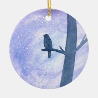Sleeping Hawk Round Ceramic Ornament