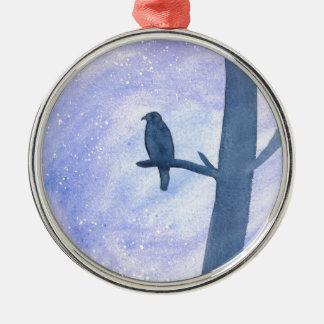 Sleeping Hawk Silver-Colored Round Ornament