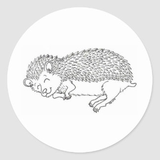 Sleeping Hedgehog Round Sticker