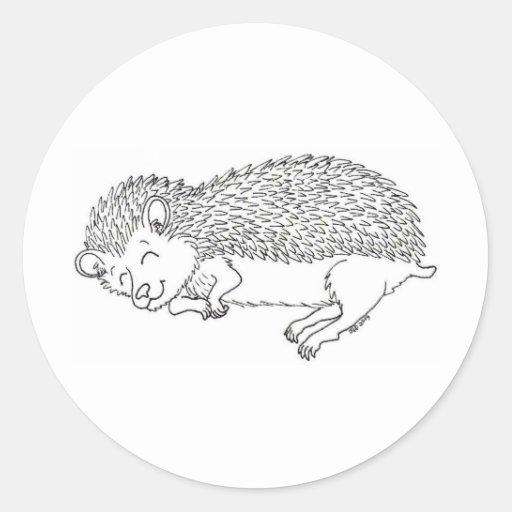 Sleeping Hedgehog Round Stickers