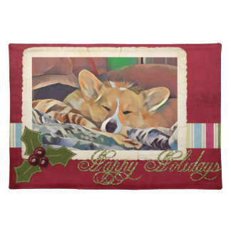 Sleeping Holiday Tricolor Corgi Placemat