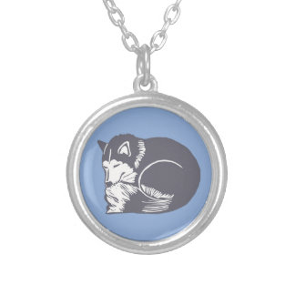 Sleeping Husky Blue Necklace