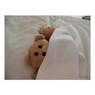 Sleeping in late - Teddy Bears sleeping in poster