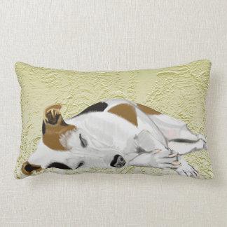 Sleeping Jack Russell against abstract ferns Lumbar Pillow