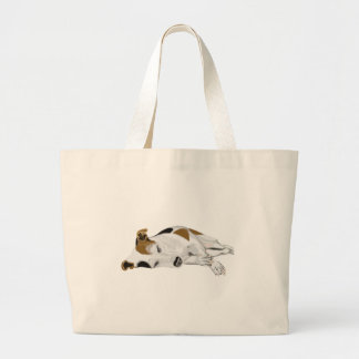 Sleeping Jack Russell Large Tote Bag