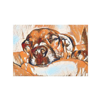 Sleeping Jack Russell puppy painting Canvas Print