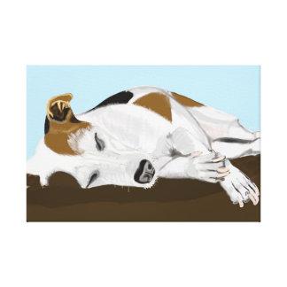Sleeping Jack Russell Terrier Canvas Print