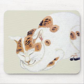 Sleeping Japanese Cat Art Mousepad
