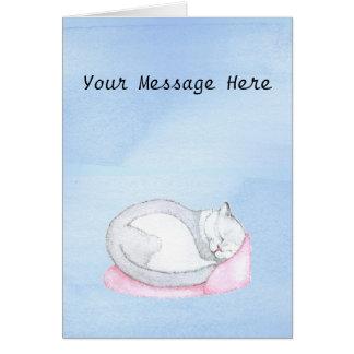Sleeping Kitten Illustration Card