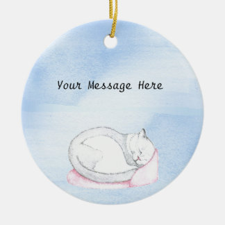Sleeping Kitten Illustration Ceramic Ornament