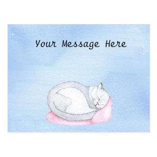 Sleeping Kitten Illustration Postcard