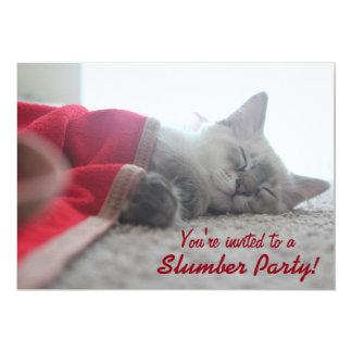 Sleeping Kitten Slumber Party Invitation