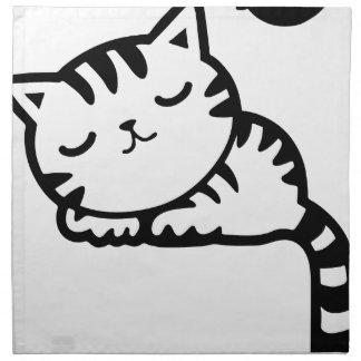 Sleeping Kitty Drawing Napkin