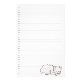 Sleeping Kitty Lined Stationery