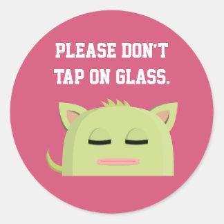 Sleeping Kitty Please Don't Tap On Glass Round Sticker