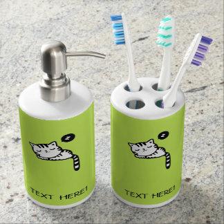Sleeping Kitty Soap Dispenser And Toothbrush Holder
