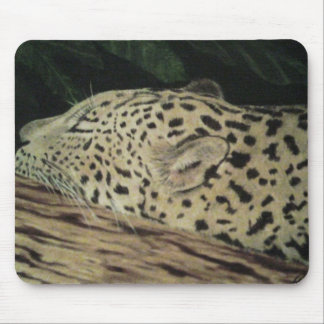 sleeping leopard mouse pad