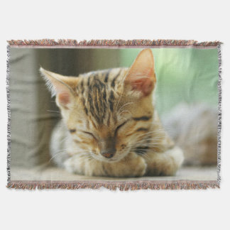 Sleeping Little Baby Kitty Throw Blanket