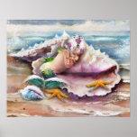 Sleeping Mermaid Baby Poster