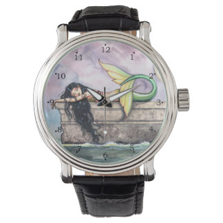 Sleeping Mermaid Fantasy Art by Molly Harrison Wristwatch