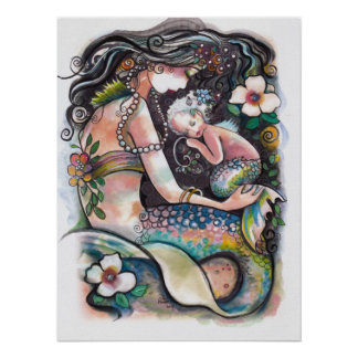 Sleeping Mermaids , mom and child Poster