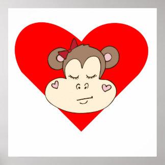 Sleeping Monkey Face Heart Print