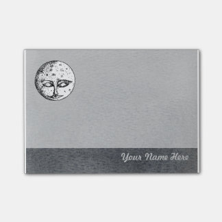 Sleeping Moon Face on Grey Post it Note