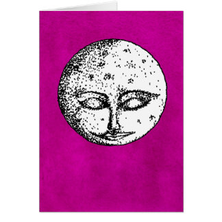 Sleeping Moon on Intense Pink Card