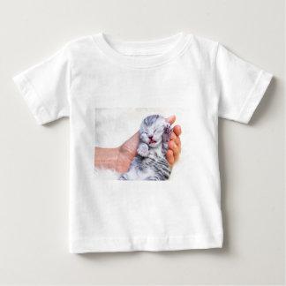Sleeping newborn  silver tabby cat in hand baby T-Shirt