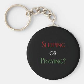 Sleeping or praying - islamic muslim prayer print keychain