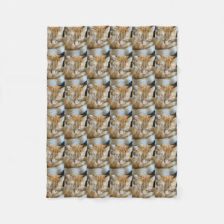 Sleeping orange tabby cat fleece blanket